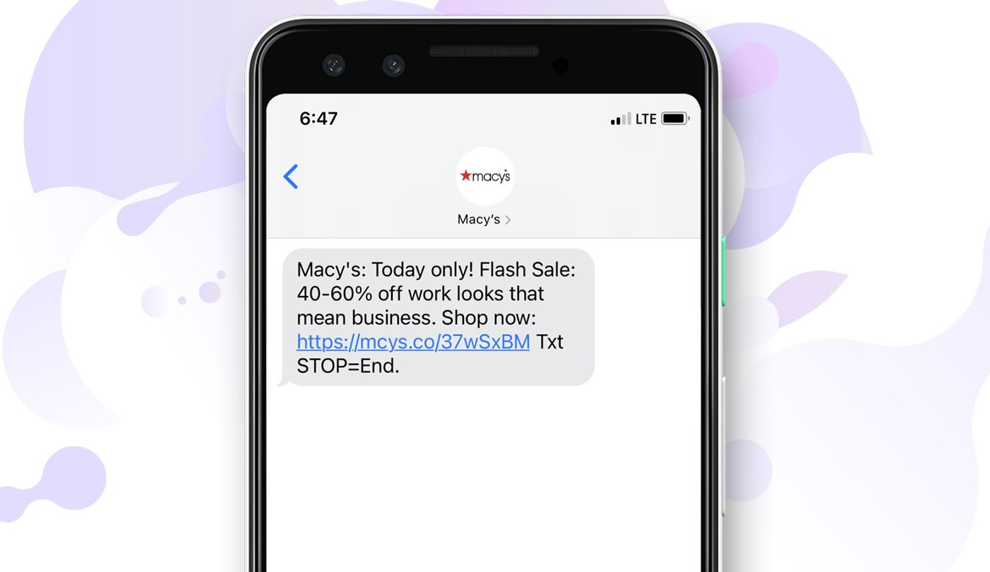 Macy's promotional message (SMS marketing)