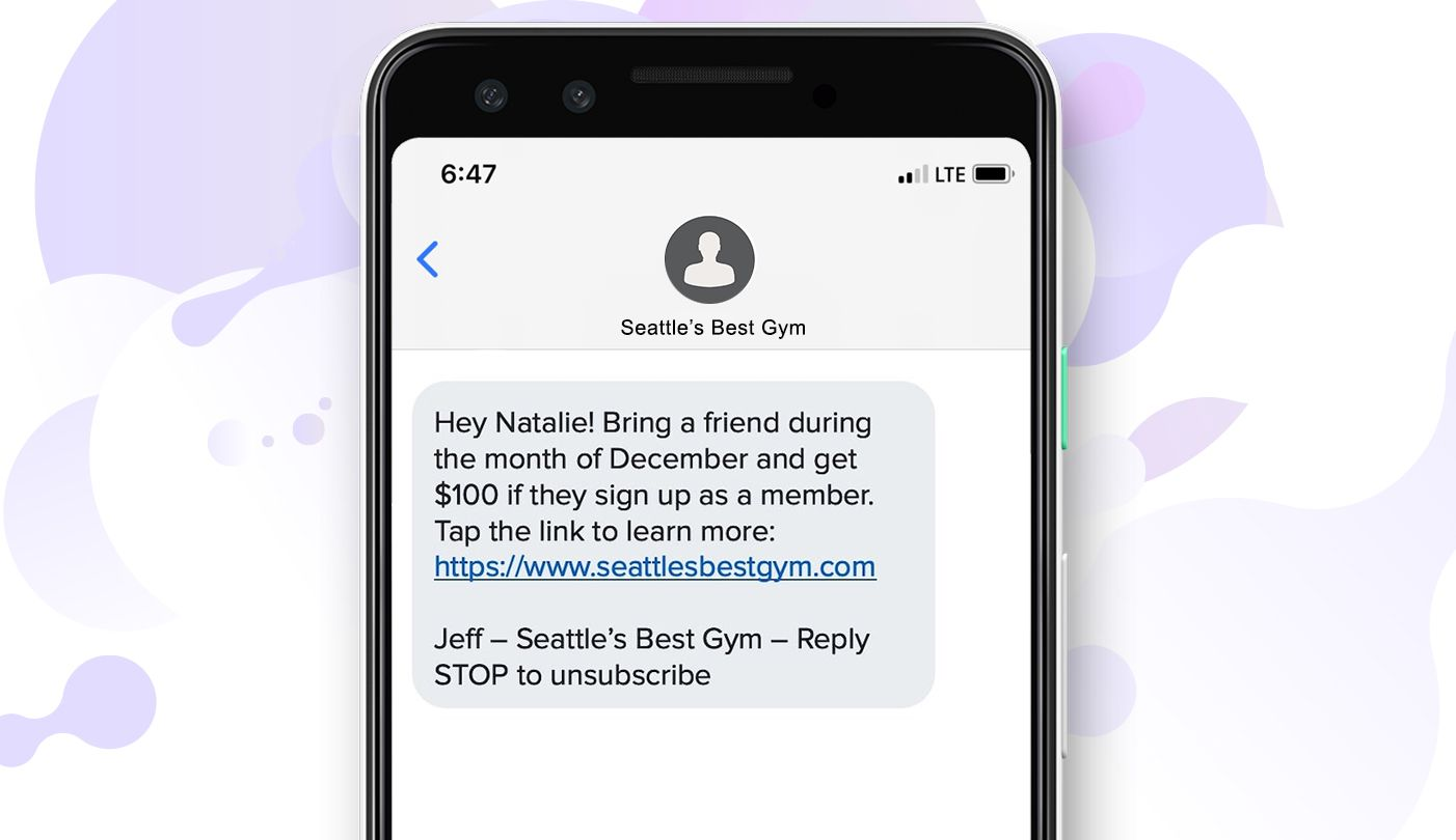 Personalized SMS message example