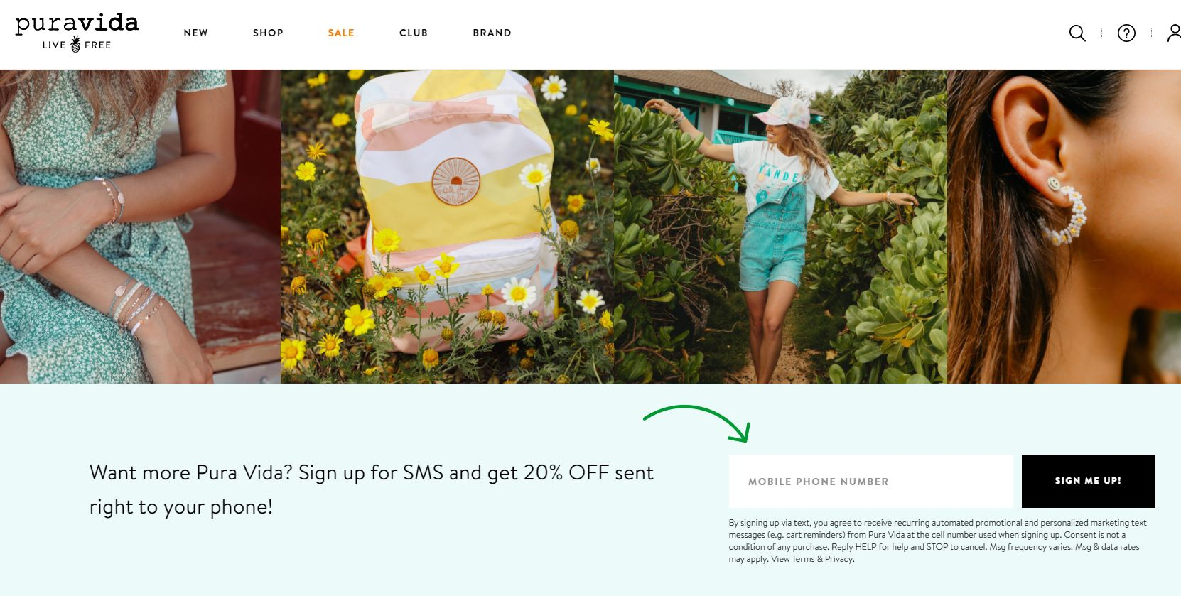 SMS subscription form on Pura Vida Bracelets website