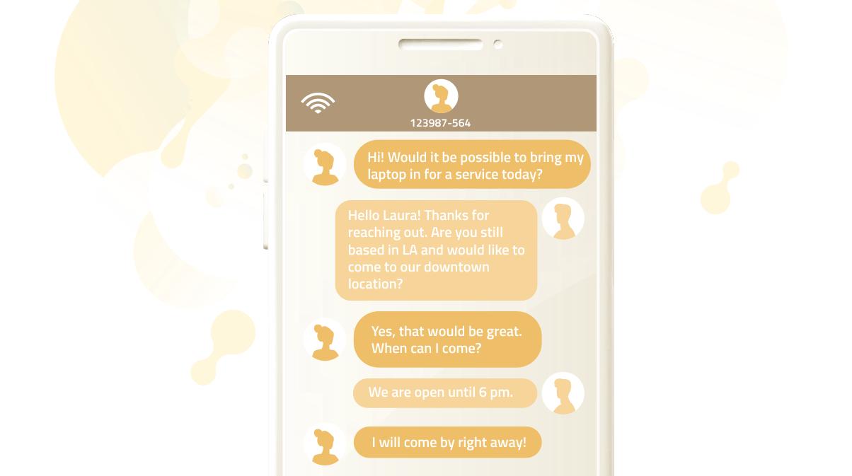 Customer service interaction via text message